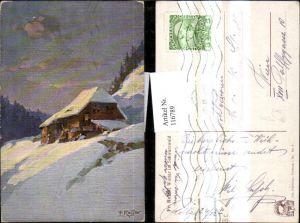 116789,Künstler Ak Fr. Reiss Winter i. Schwarzwald Hütte Haus i. Schnee pub Joh. Elchlepp 7