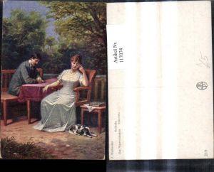 117074,Künstler Ak J. Mathauser Das Missverständnis Paar a. Tisch Hund