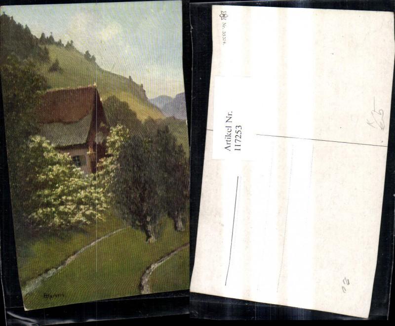 117253,Künstler Ak E. Harbers Haus Landschaft