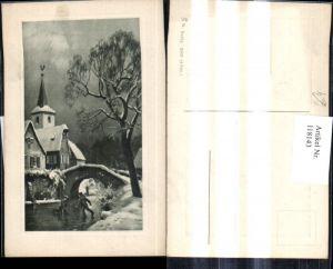 118143,Künstler Ak Winterdorf Kinder laufen Schlittschuh a. Fluss Brücke Passepartout
