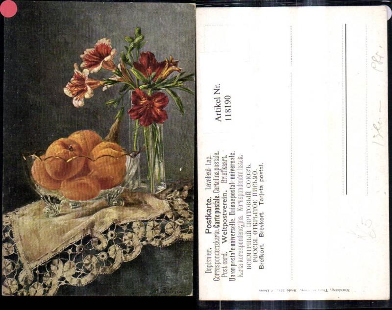 118190,Theo Stroefer Verlag 334 Künstler M. Billing Stillleben Orangen i. Glasschale Blumenvase Lilien