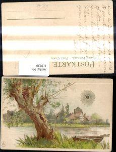 119739,Winkler & Schorn IV/99115 Sonnenschein Litho Baum Ruderboot Ufer