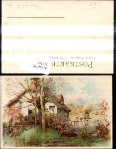 119743,Winkler & Schorn VI/99115 Sonnenschein Litho Haus Baum Landschaft