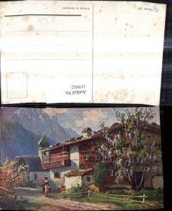 119942,Künstler Ak F. Trübe Bergdorf Frau m. Schirm