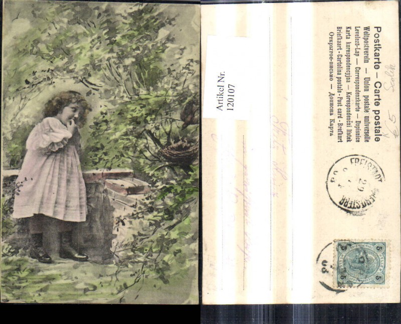 120107,Künstler Ak G. Scolik Mädchen v. Vogelnest Strauch
