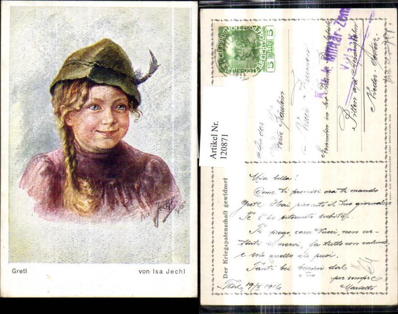 120871,Künstler Ak Isa Jechl Gretl m. Tirolerhut