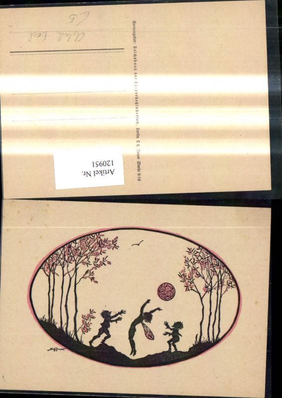 120951,Künstler Ak Elsbeth Forck Scherenschnitte Silhouette Fee Zwerge spielen Ball Wald