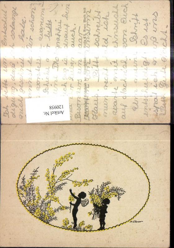 120958,Künstler Ak Elsbeth Forck Scherenschnitte Silhouette Fee Zwerg Blumen Strauch Strauß
