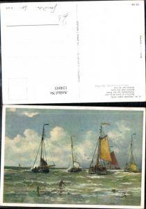 124043,Künstler Ak H. W. Mesdag Segelschiff Schiff Fischerboot b. d. Küste