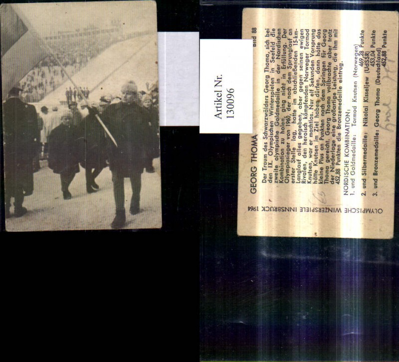 130096,Sportler Olympia Georg Thoma Skilaufen Olympische Winterspiele Innsbruck 1964