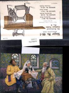 133001,Reklame Singer Nähmaschinen No 66-1 On Embossed Cabinet Table Nähen