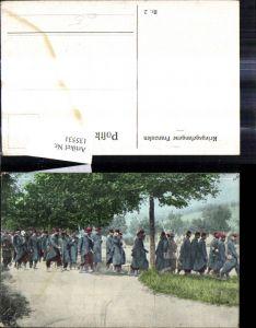135531,WW1 Kriegsgefangene Franzosen Soldaten Uniformen Bajonett