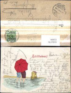 135899,Künstler Litho Baden Badewagen Schwimmer Rückenansicht Schirm Stillleben