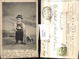 138029,Junge Bub i. Tracht Spielzeug Pferd Spielzeugpferd Peitsche
