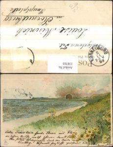 138703,Künstler Litho Landschaft Küste Sonne Goldverzierung pub Winkler & Schorn