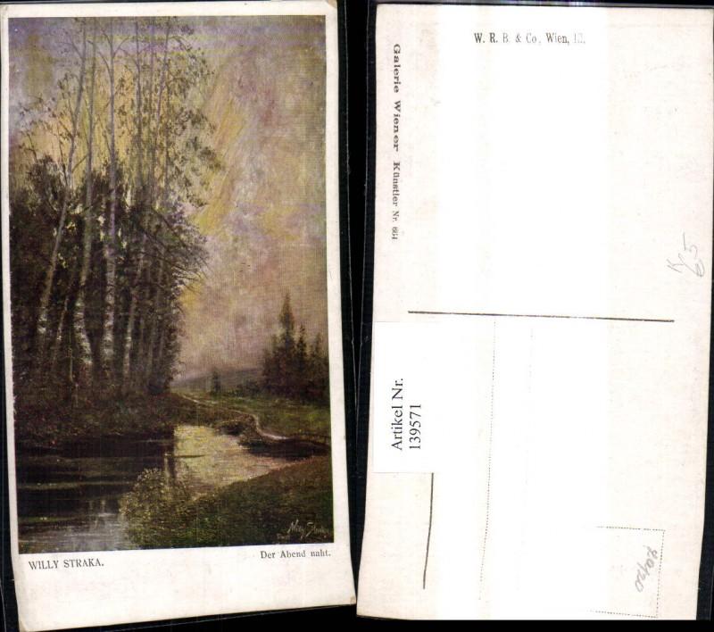 139571,Künstler Ak Willy Straka Der Abend naht Landschaft