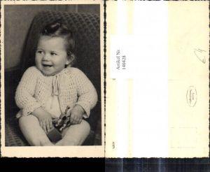140428,Foto Ak Kind Kleinkind m. Spielzeug Holzpferd