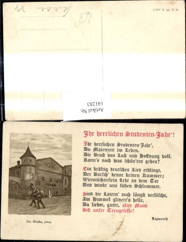 141283,Künstler Ak Jos. Straka Sudentika Studentenjahr Spruch Text Legwarth pub B.K.W.I. Brüder Kohn 640/3