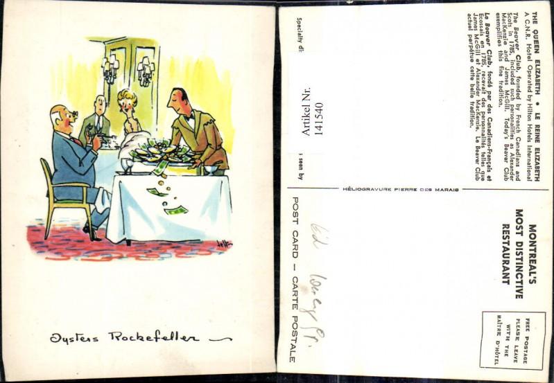 141540,Künstler Ak Jysters Rockefeller Scherz Humor Kellner serviert Geldscheine Geld