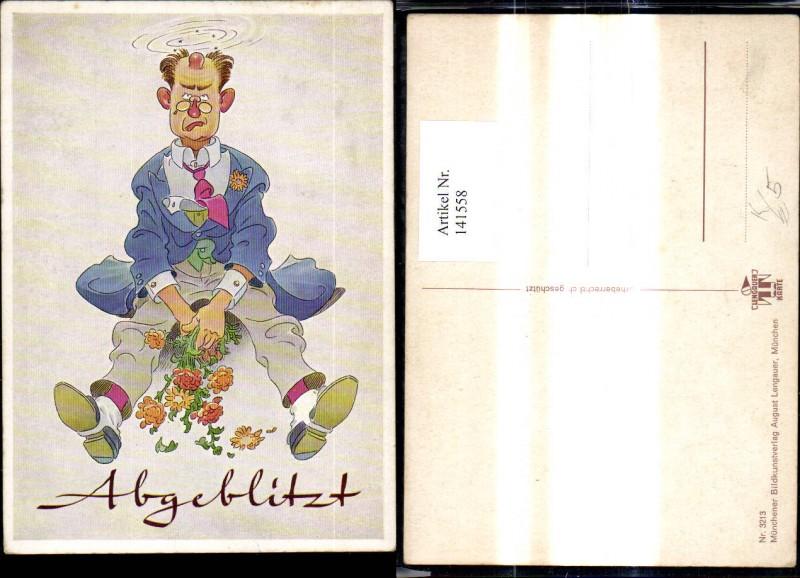 141558,Künstler Ak Mann m. Beule a. Kopf Blumen Abgeblitzt Scherz Humor pub August Lengauer 3213