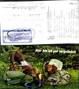 141649,Reklame Semriach Hier bin ich gut aufgehoben Dackel Hund Rucksach Horn Tiroler Hut Gewehr