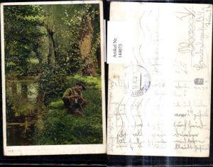 144073,Künstler Ak V. Trsek Fischer Angler a. Bach Fluss Angel Angelrute Angeln