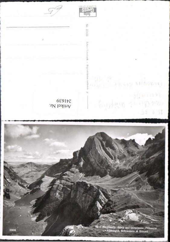 241639,Meglisalp Blick auf Seealpsee Fähnern Alpsiegel Schrennen u. Bötzel Kt Appenzell