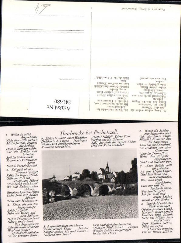 241680,Thurbrücke Brücke b. Bischofszell Gedicht Text Kt Thurgau