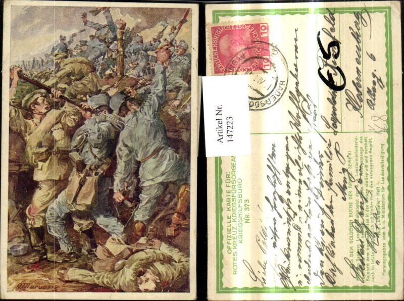 147223,Künstler Ak A. Marussig WW1 Soldaten Uniformen Kampf pub Kriegsfürsorge 373