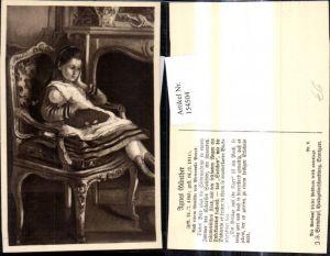 154504,Künstler Ak Pietronella Peters Agnes Günther Mädchen Puppe Stuhl v. Kamin