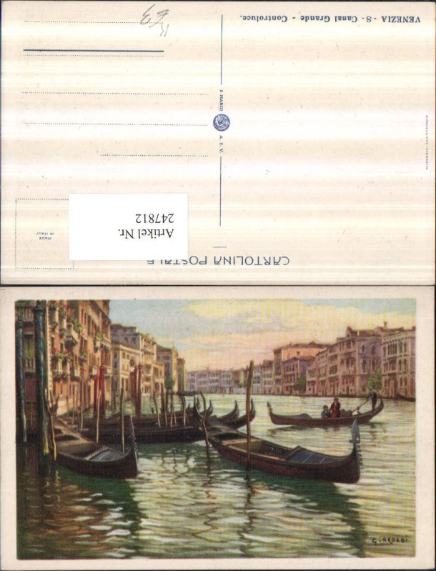 247812,Künstler AK G. Aroldi Veneto Venezia Venedig Canal Grande Controluce Gondeln 0