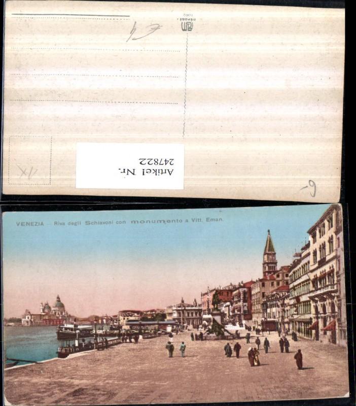 247822,Veneto Venezia Venedig Riva degli Schiavoni con monumento a Vittorio Emanuele 0