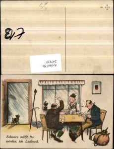 247839,Künstler AK Willi Scheuermann John Wills Schwarz müsst ihr werden ihr Ludersch Männer b. Karten spielen