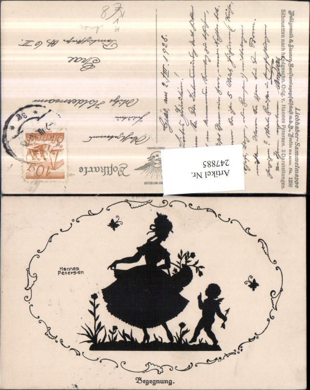 247885,Künstler AK Hannes Petersen Scherenschnitt Silhouette Begegnung Frau Kleid Amor pub Wohlgemuth u. Lissner 1238