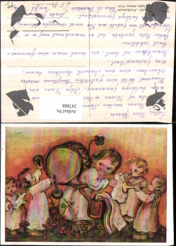 247888,Künstler AK M. Spötl Festkonzert Kinder Trommel Tröte