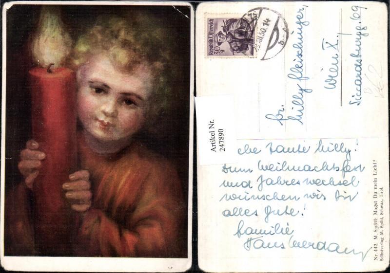 247890,Künstler AK M. Spötl 442 Magst du mein Licht Kind m. Kerze