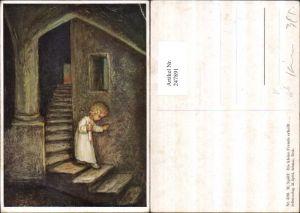 247891,Künstler AK M. Spötl 339 Die kleine Freude erhellt Kind m. Kerze Stiege Treppe