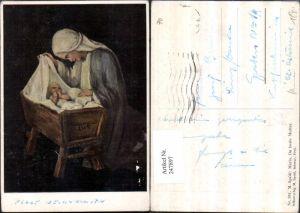 247897,Künstler AK M. Spötl 361 Maria du beste Mutter Jesuskind Krippe