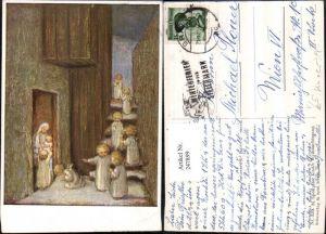 247899,Künstler AK M. Spötl 329 Der Kinder Weihnachtsgang Engel Kerzen Stiege