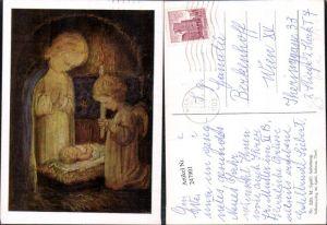 247901,Künstler AK M. Spötl 326 Anbetung Engel Kerze Jesuskind