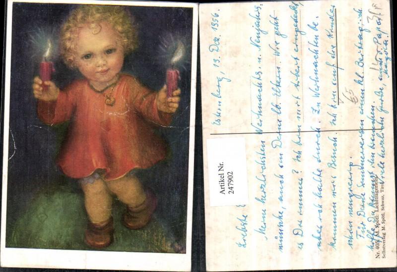 247902,Künstler AK M. Spötl 405 Lichtträgerlein Kind m. Kette Kerzen