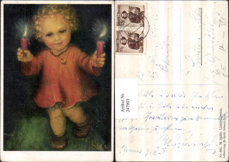 247903,Künstler AK M. Spötl 405 Lichtträgerlein Kind m. Kette Kerzen