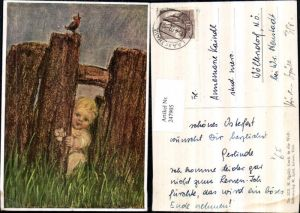 247905,Künstler AK M. Spötl 373 Guck in d. Welt Kind Zaun Wiese Vogel