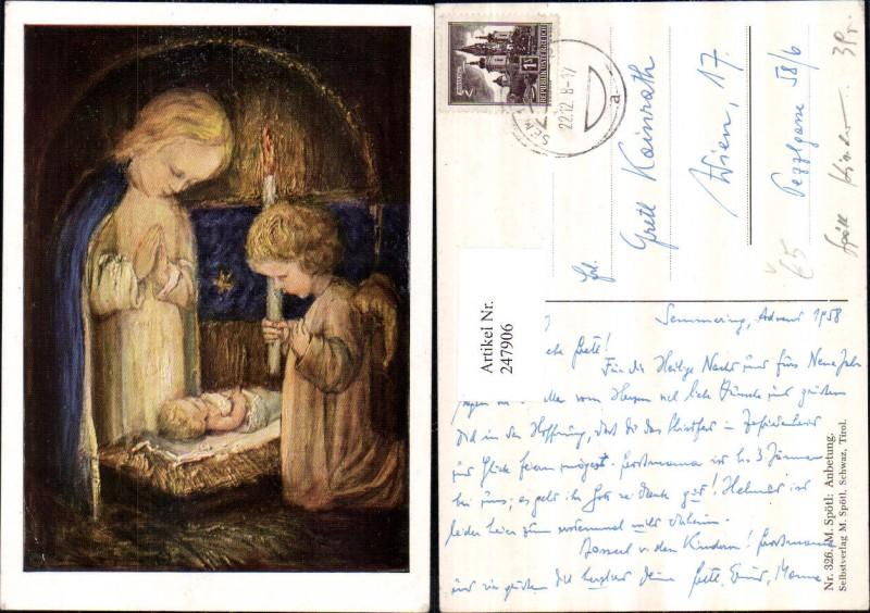 247906,Künstler AK M. Spötl 326 Anbetung Engel Kerze Beten Jesuskind