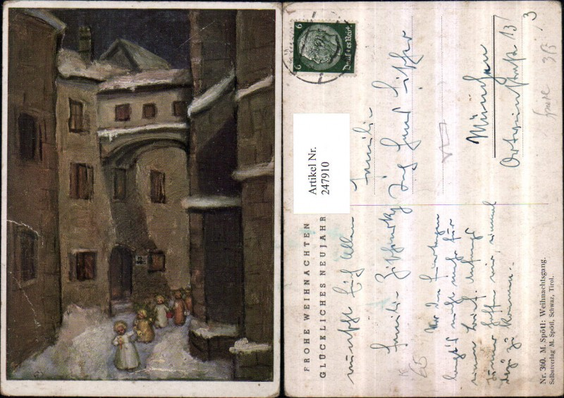 247910,Künstler AK M. Spötl 360 Weihnachtsgang Dorf Kinder Kerze