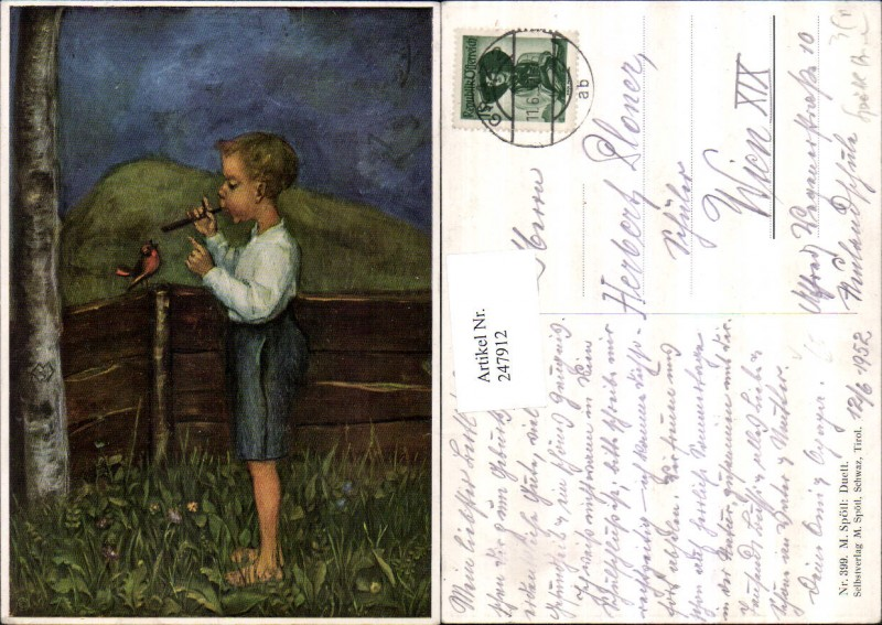 247912,Künstler AK M. Spötl 399 Duett Junge m. Flöte Vogel