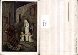 247913,Künstler AK M. Spötl 352 Wer lässt uns ein Maria u. Josef Engel Kerze