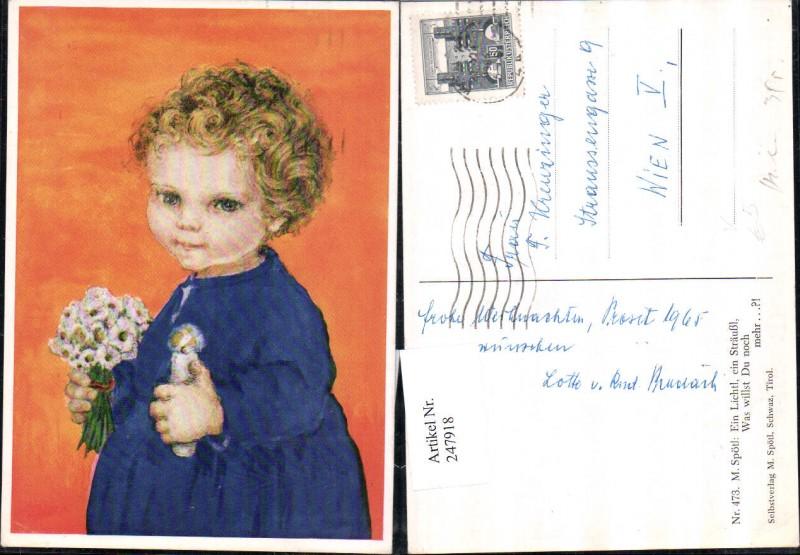 247918,Künstler AK M. Spötl 473 Kind m. Kerze u. Blumenstrauß
