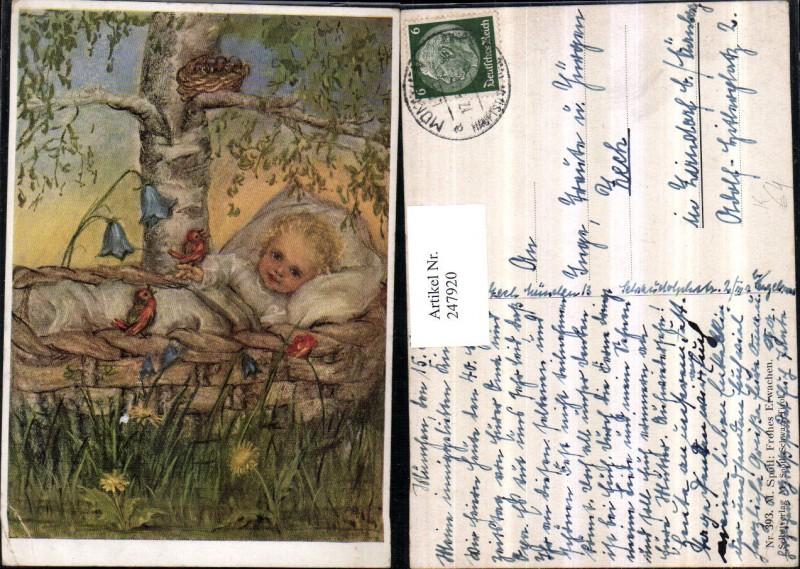 247920,Künstler AK M. Spötl 393 Frohes Erwachen Kind Korb Vögel Blumen Wiese