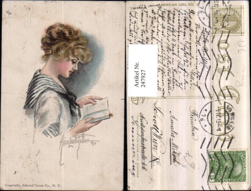 247927,Künstler AK Alice Luella Fidler Frau Mädchen m. Tuch b. Lesen